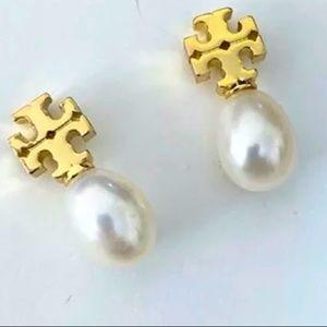 Tory Burch gold logo pearl earrings